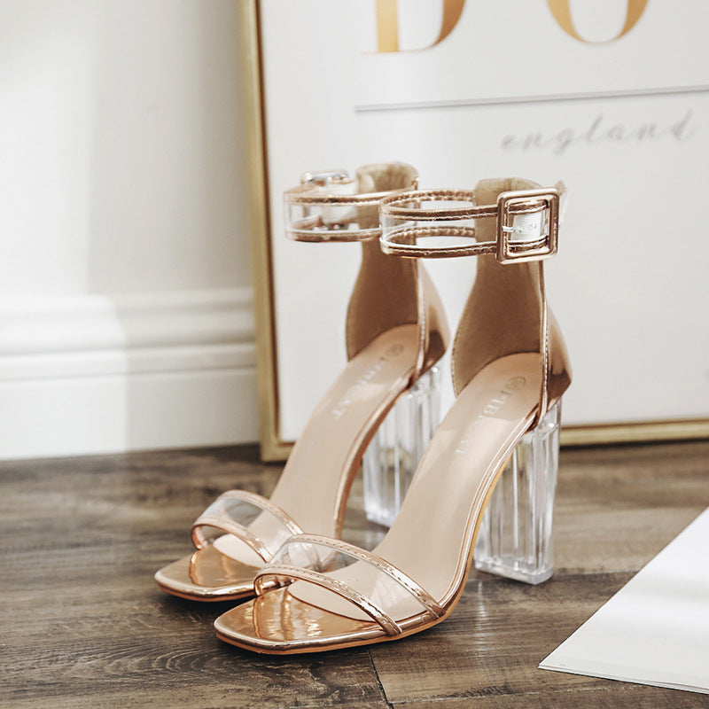 63a1eb046f8 ... Korean version of the wild transparent high heels sandals sexy word  buckle with. Hover to zoom