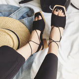 2018 summer new Roman sandals female cross straps with temperament fashion wild thick with women's shoes