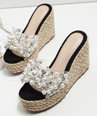 2018 summer new fashion wedge sandals slippers handmade pearl crystal high-heeled female slippers