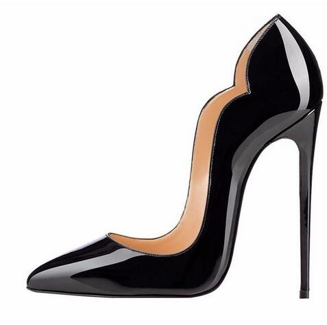 2018 Summer Womens Pumps Pointed Toe Vanished Patent Leather Brand