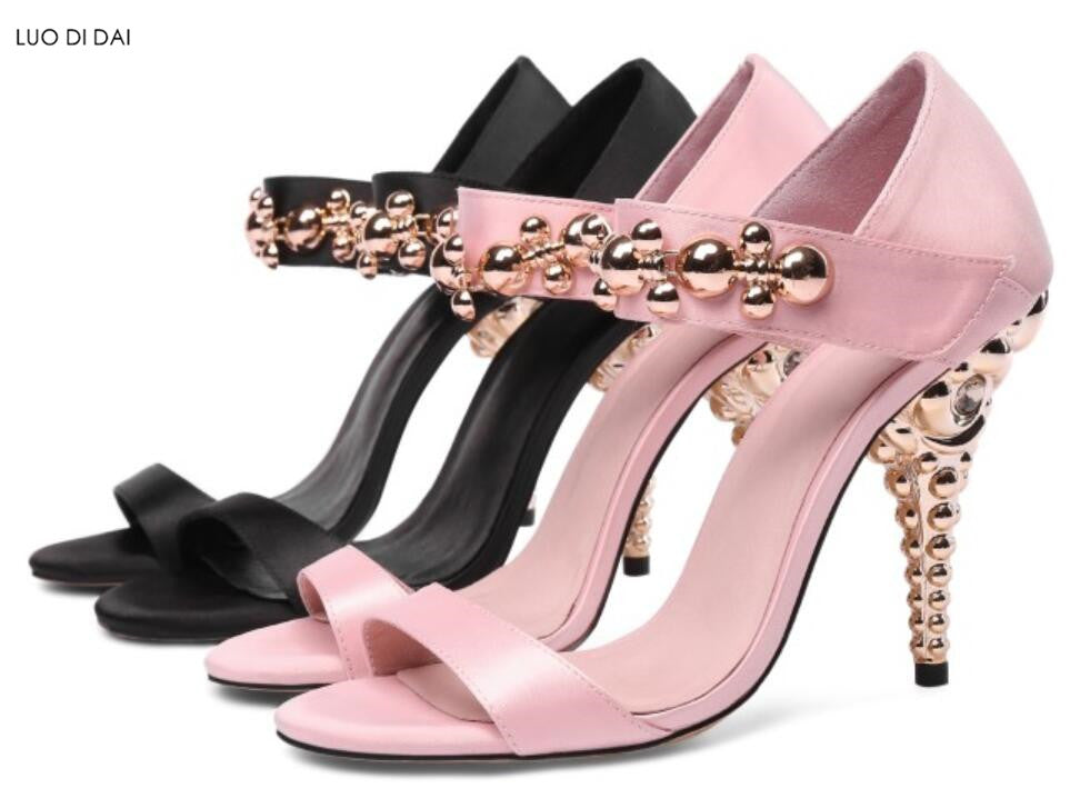 14224cface02 ... pink sandals wedding shoes gold beadins stud sandals open toe metal.  Hover to zoom