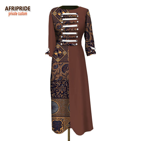 2018 women loose dress customzied full sleeve ankle-length casual dress for women button decoration in front A1825016 1