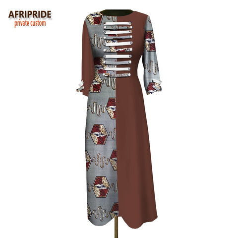 2018 women loose dress customzied full sleeve ankle-length casual dress for women button decoration in front A1825016