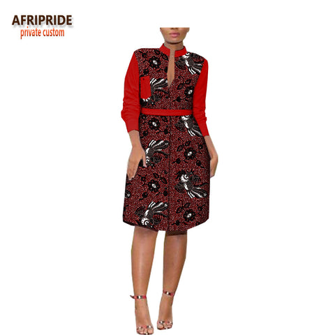 2018spring casual women dress three quarter sleeve button front fly knee-length women dress pocket decoration A1825026