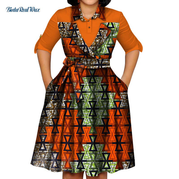 2019 A-line Dress With Sashes Bazin Riche African Print Dresses for Women Traditional African Clothing Party Dress WY5201