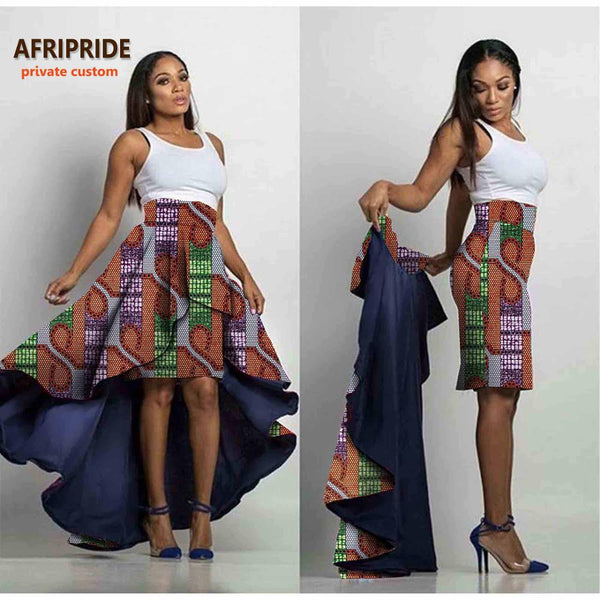 2019 AFRIPRIDE private custom female skirt  midi pencil +long pleated skirt one skirt with two styles new special disign A722708