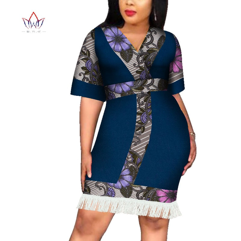 2019 Africa Dress For Women African Wax tassel Dresses Dashiki Plus Size  Africa Style Clothing for Women Office Dress WY4257