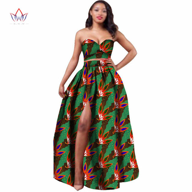 6917e75696 ... 2019 African Clothes Dashiki for Women Bazin Riche Crop Top and Skirt  Set 2 Piece Traditional ...