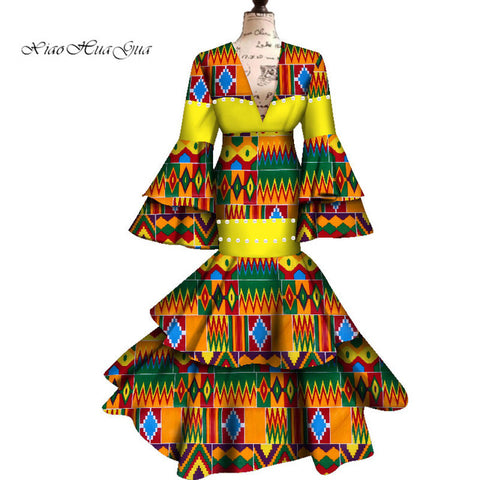 2019 African Dresses For Women Ankara Wax Fabric Long Flare Sleeve Maxi Mermaid Dress Dashiki Print Wedding/Party Dress WY4807