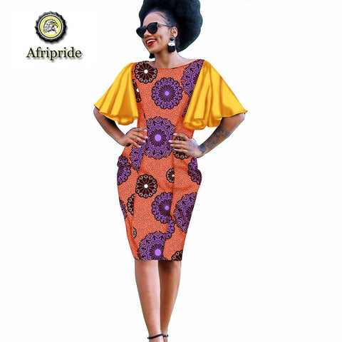 2019 African Dresses for Women AFRIPRIDE Dashiki colorful clothing curtains dress designs dolls purple prints patterns S1925015