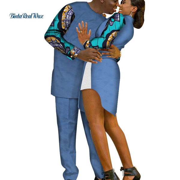 2019 African Dresses for Women Bazin Riche Mens Shirt and Pants Sets Lover Couples Clothes Print Dresses African Clothing WYQ216