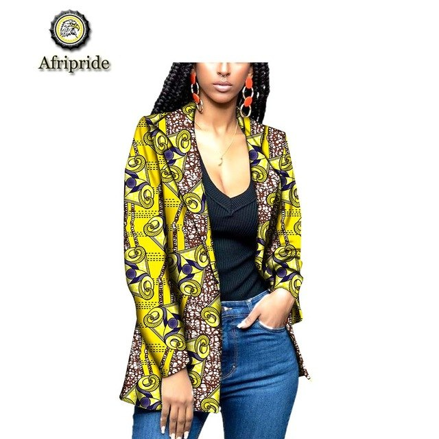 2019 African Female clothes new style African fabric ankara print dashiki bazin riche long coats with pockets AFRIPRIDE S1924007