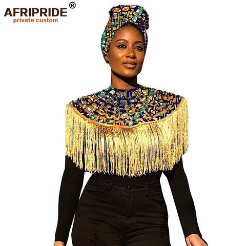 Image of 2019 African Head wrap+copper ankara Headtie African Traditional 100% high quality cotton African Bridal Jewelry Sets A19h001