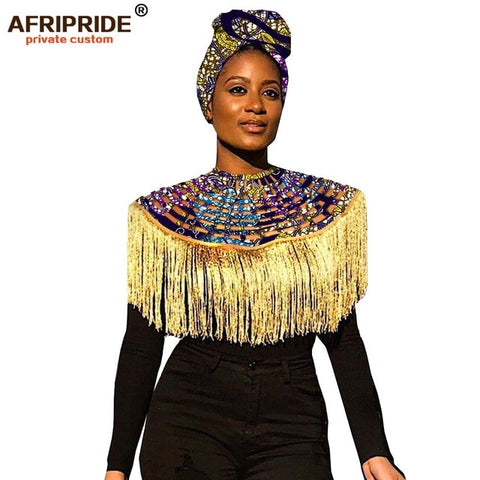2019 African Head wrap+copper ankara Headtie African Traditional 100% high quality cotton African Bridal Jewelry Sets A19h001