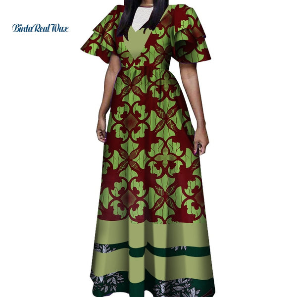 2019 African Print Dresses for Women Bazin Riche African Clothes Applique Long Evening Dresses Dashiki African Clothing WY4431