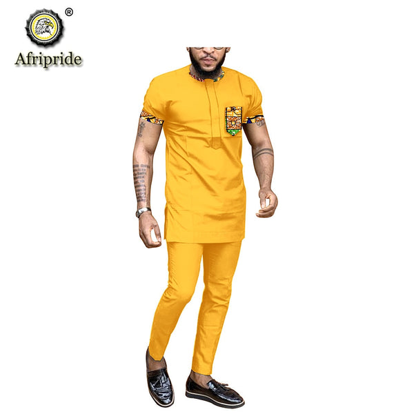 2019 African clothing for men outfit dashiki tops shirts+ pants set print wear clothes outwear ankara blouse AFRIPRIDE S1916007