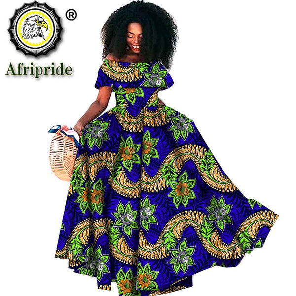 2019 African long maxi dresses for women off shoulder wax attire party wedding wear a-line dress casual print AFRIPRIDE S1925099