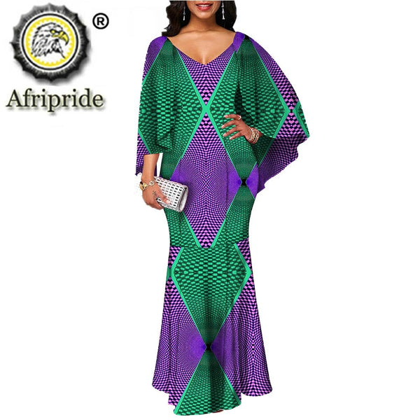 2019 African maxi dresses for women autumn dress v-neck flare sleeve casual dress print wax ball gown formal AFRIPRIDE S1925079