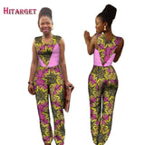 2019 Autumn Africa Cotton Wax Print Romper African Bazin Riche Sexy Jumpsuit For Women Dashiki Hanging Neck Jumpsuit WY1424