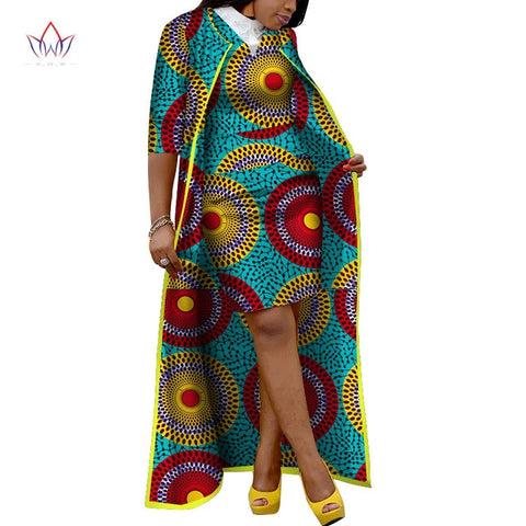 2019 Autumn African Skirt Sets For Women Dashiki X-Long Coat and Skirt Africa Clothing Bazin Plus Size Women Sets WY3400