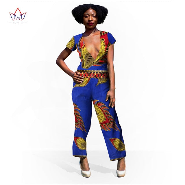 da0b41c7585 ... 2019 Autumn New Arrivals Deep Fitted Sexy Bodycon dinner party Jumpsuit  Sleeveless Women Colorful African Women ...