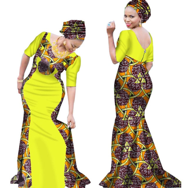 91a67cb8f78 2019 Bazin Riche African Dresses for Woman Print Splice V Neck Mermaid  Dresses with Head Tie. Hover to zoom