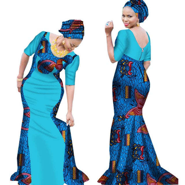 49307da272f25 2019 Bazin Riche African Dresses for Woman Print Splice V Neck Mermaid  Dresses with Head Tie. Hover to zoom