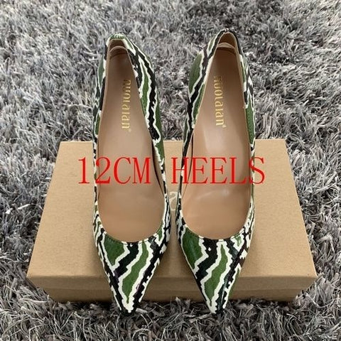 2019 Brand Shoes Woman High Heels Women Pumps Stilettos 12cm/10cm/8cm High Heel Ladies Shoes Snake Printed Patry Wedding Shoes