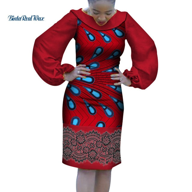 168339636bb 2019 Dashiki African Print Dresses for Women Bazin Riche Ankara ...