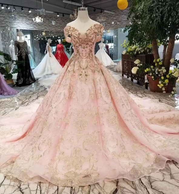 Gold Ball Gown Prom Dresses