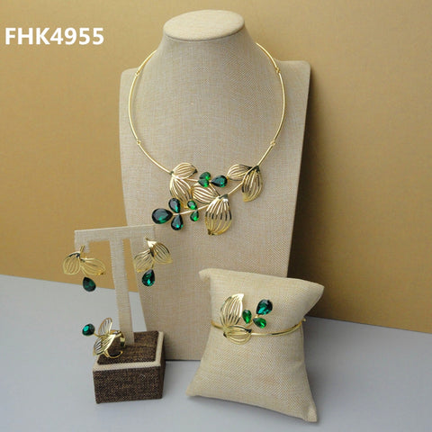 2019 Dubai Costume Jewelry 24K Gold Color Plated Jewelry Sets Green Rhinestone for African Women FHK4955
