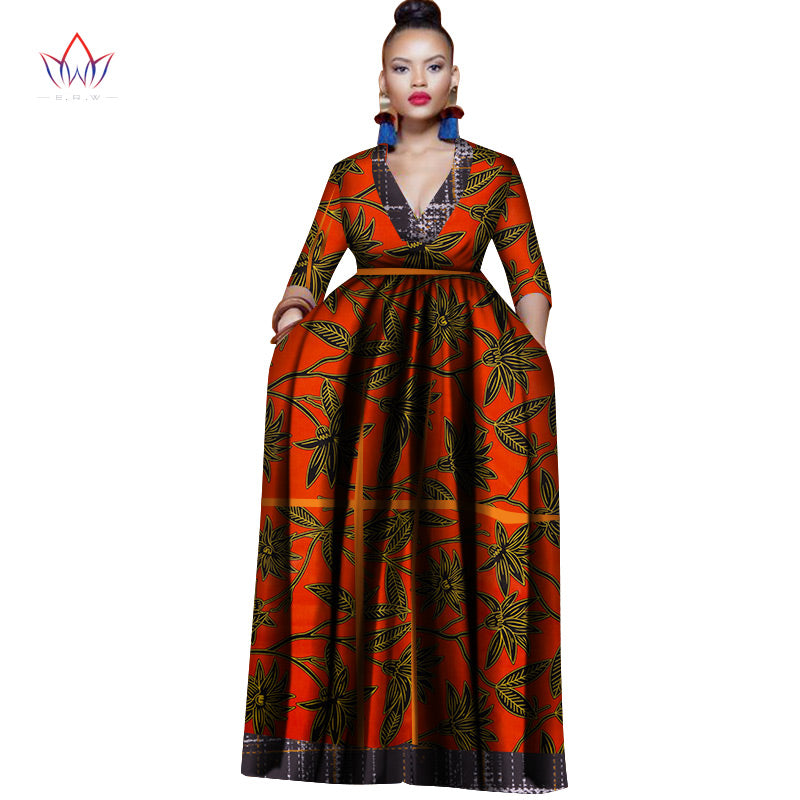 2019 Fashion African Dresses for Women Dashiki Plus Size African Clothes  Single Puff Sleeve Long Dress for Lady WY3192