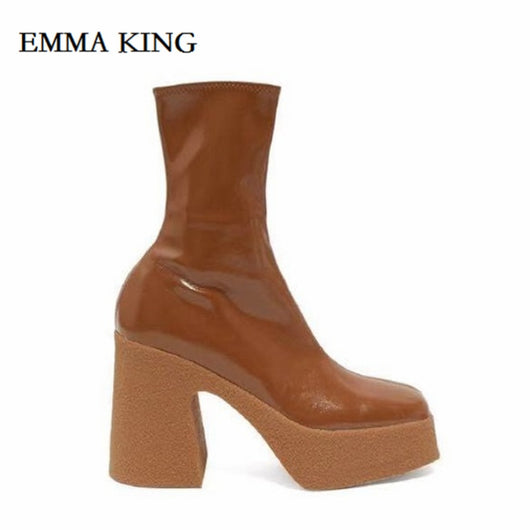 2019 Fashion Spring Autumn Platform Ankle Boots Women Thick Heel Platform Boots British Style Retro Boots Square Toe Lady Shoes