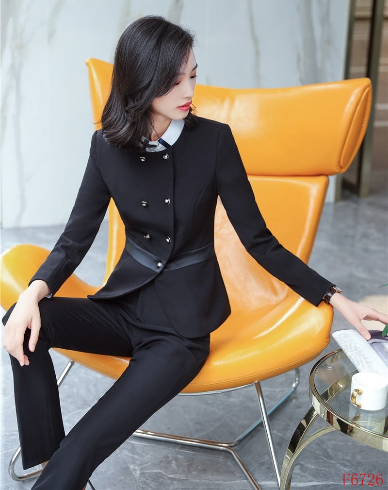 2019 Formal Elegant Women s Ladies Black Blazer Women Business Suits Office  Suits Work Wear Uniforms Pant ... 6be19afbcb1b