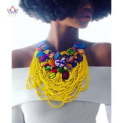 2019 Hot Sale Handmade Ankara Button Bib Necklace Hot Sale Cotton Necklace Shourouk Statement Necklace Choker Necklaces WYB06