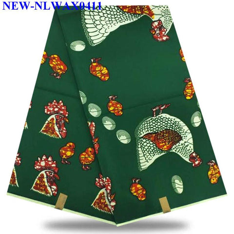 2019 Latest 100% Cotton African Fabric dutch Wax For a wedding dress High Quality Green color dutch Wax 6 yards XE-016