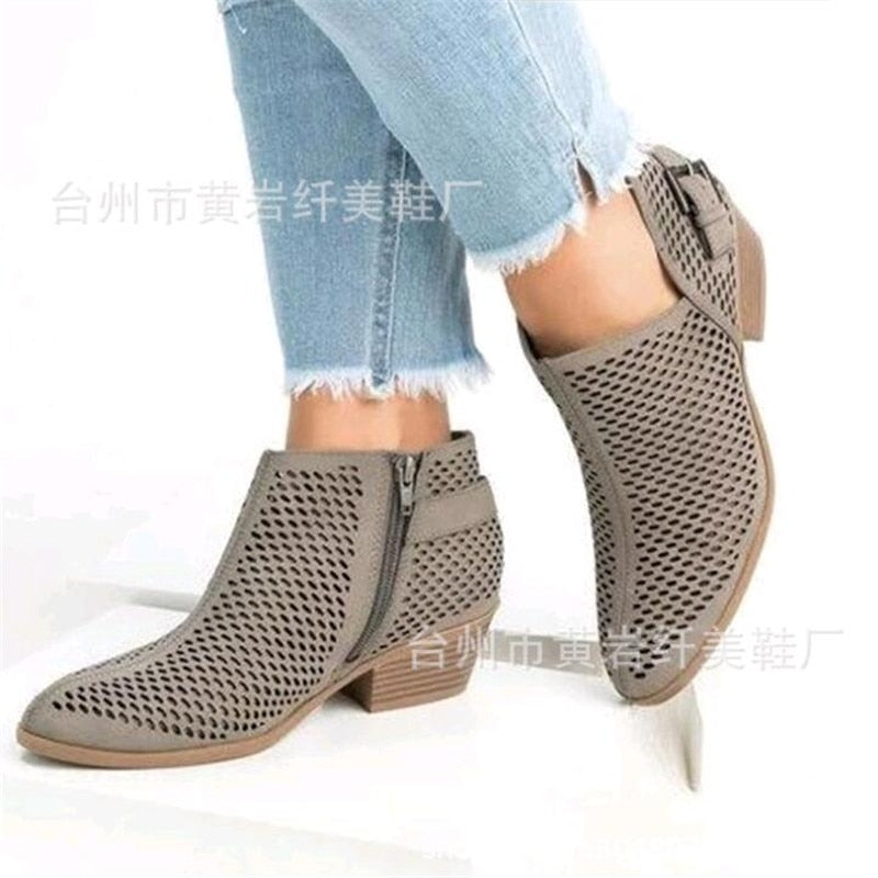 5833a24e6c Hover to zoom · 2019 Leather Shoes Women Spring Summer Ankle Boots Hollow  Out Breathable Slip on Low Heel Soft