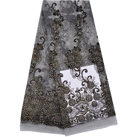 2019 Luxury Lace Fabric Heavy Beaded Embroidered African French Tulle Lace Fabric High Quality Nigerian Lace For Woman Dress