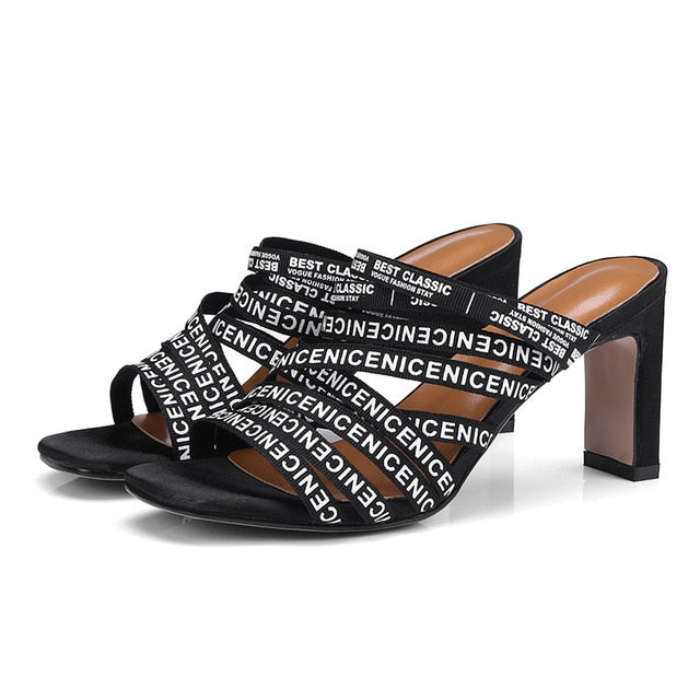 1494cdadea 2019 Mules Summer Slippers chunky high heels Slides Black Multi Narrow Band  Slip On Ladies Peep. Hover to zoom