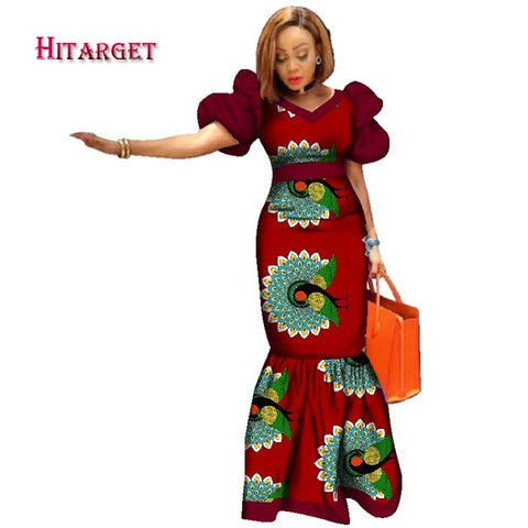 2019 New Bazin Riche African Dresses for Women Print Splice Puff Sleeve Long Dresses African Dashiki Women Clothing WY2494