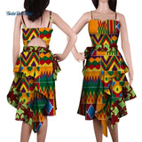 2019 New Bazin Riche African Wax Print Dresses for Women Patchwork Dresses Dashiki African Style Clothing Ruffles Dresses WY4419