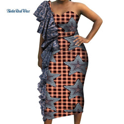 2019 New Bazin Riche African Wax Print Dresses for Women Patchwork Dresses Dashiki African Style Clothing Draped Dresses WY4386