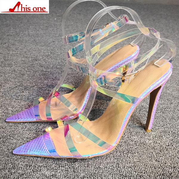 2019 New Brand Summer Gladiator Silver PVC Transparent Peep Toe High Heel Women Sandals Sexy Buckle Strap Ladies Shoes size35-47