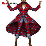2019 New Casual African Two Piece Set Top and Pants for Women Long Jacket Coat+Nine Pant 2 Pieces African Women Clothes WY5179