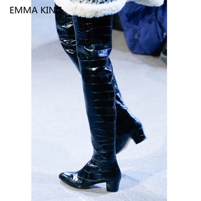 ... 2019 New Chunky Heel Over The Knee Boots Women Pointed Toe Sexy High  Heels Female Winter 1880466724d0
