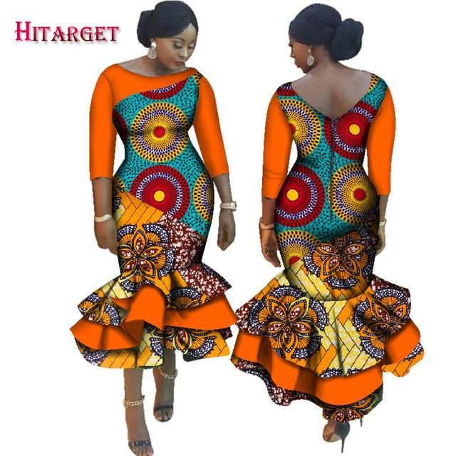 d558eb5487f Hover to zoom · 2019 New Dashiki African Bazin Riche Dresses for Women  Cascading Ruffle Dress Vestidos Plus Size African