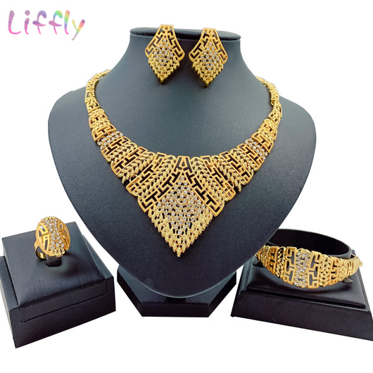 Fashion Women Flower hollow Earring Necklace Jewelry Sets Hot Wedding Gifts