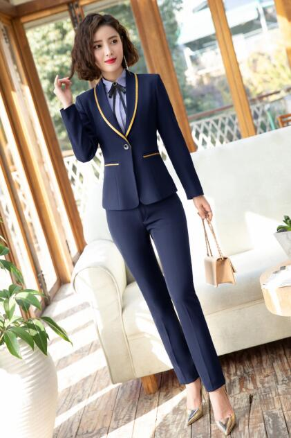 2019 New Fashion Business interview women pants suits plus size work office  ladies long sleeve slim Formal blazer and pants set