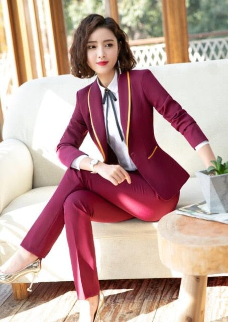 1b2cf82bb8ece ... 2019 New Fashion Business interview women pants suits plus size work  office ladies long sleeve slim