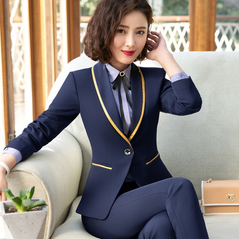 6847de48ee5af 2019 New Fashion Business interview women pants suits plus size work office  ladies long sleeve slim ...